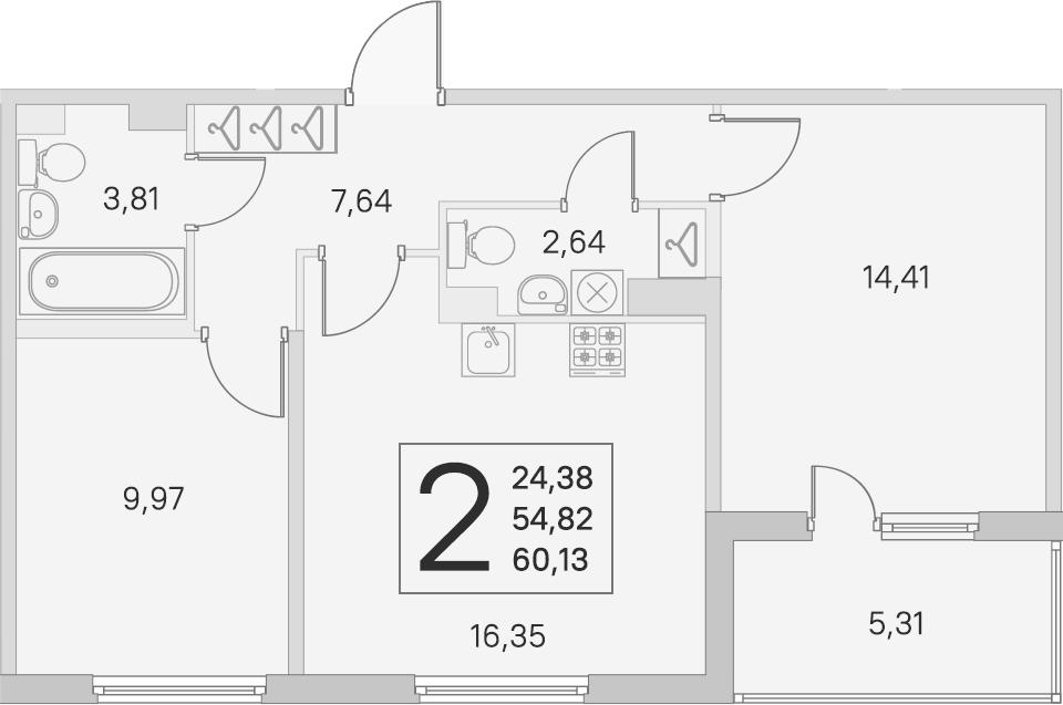 3-комнатная 60 м<sup>2</sup> на 4 этаже