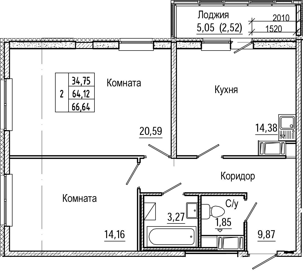 2-комнатная 69 м<sup>2</sup> на 6 этаже