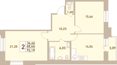 2-комнатная 71 м<sup>2</sup> на 5 этаже
