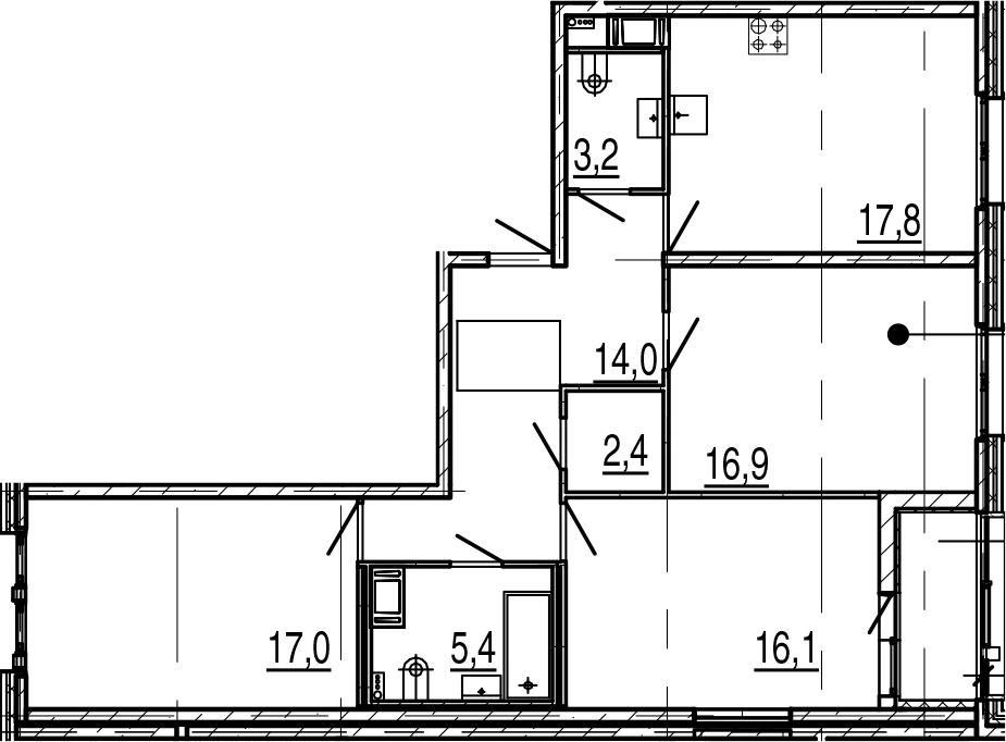 4-комнатная 96 м<sup>2</sup> на 6 этаже