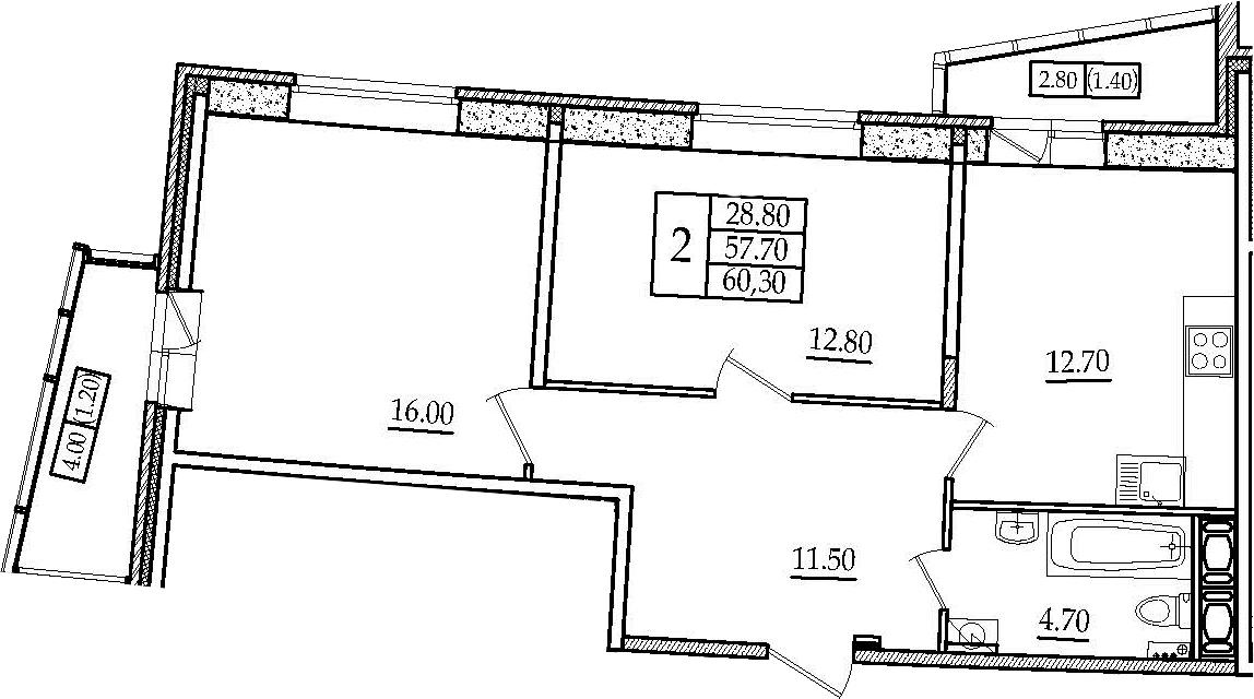 2-комнатная 64 м<sup>2</sup> на 3 этаже