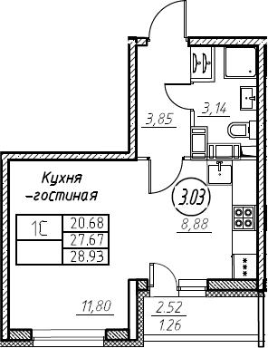 Студия 30 м<sup>2</sup> на 21 этаже