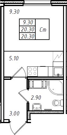 Студия 20 м<sup>2</sup> на 5 этаже