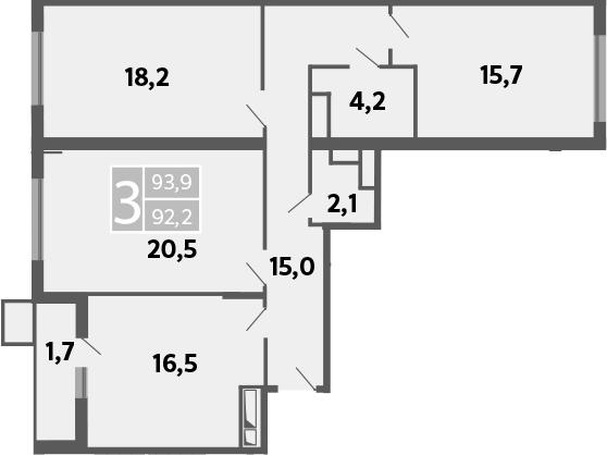 3-к.кв, 96.9 м²
