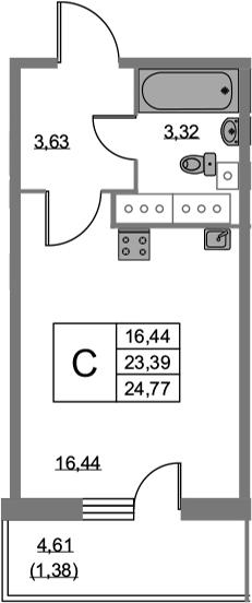 Студия 27 м<sup>2</sup> на 21 этаже