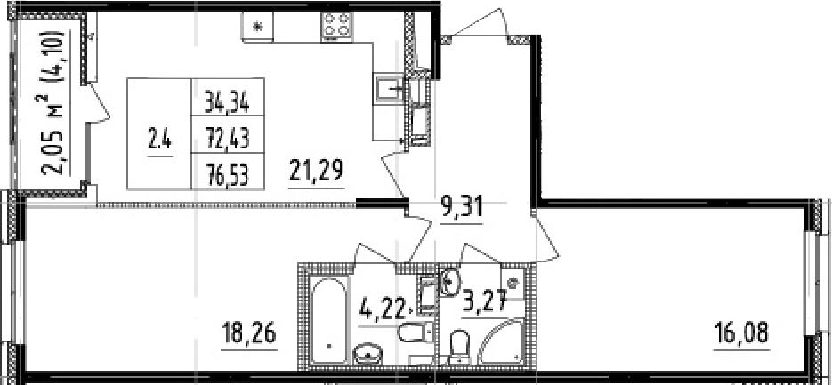 3-комнатная 76 м<sup>2</sup> на 5 этаже