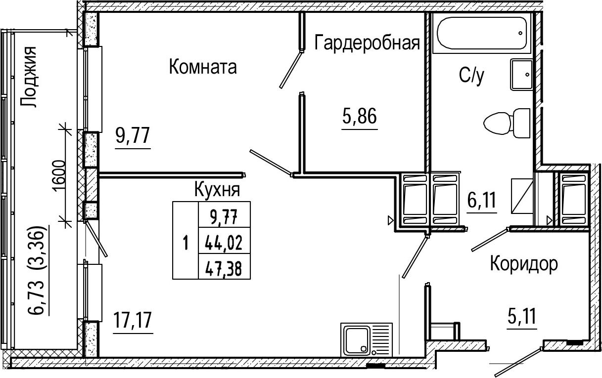 2-комнатная 50 м<sup>2</sup> на 25 этаже