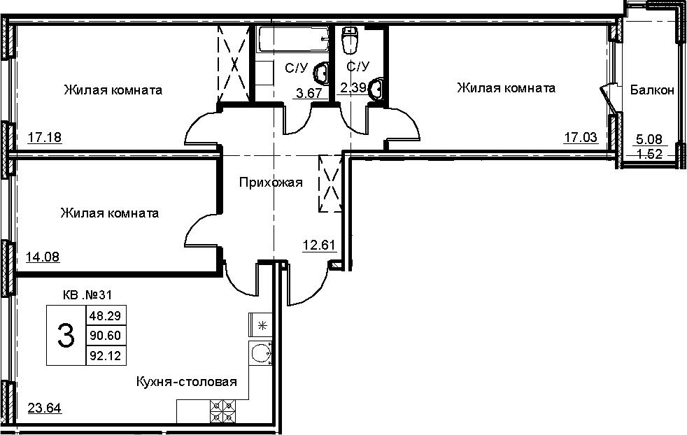 4-комнатная 95 м<sup>2</sup> на 4 этаже
