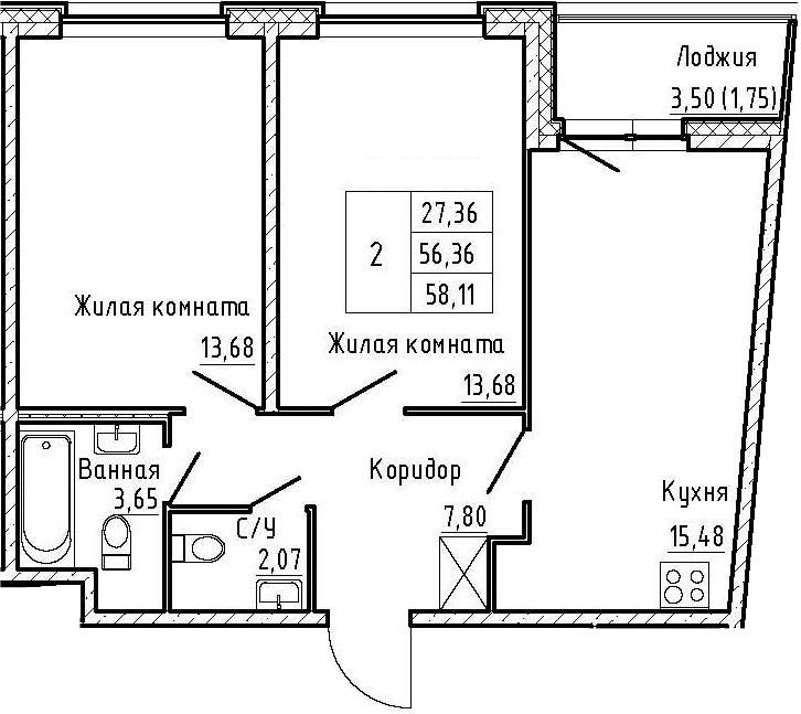 3-комнатная 59 м<sup>2</sup> на 2 этаже