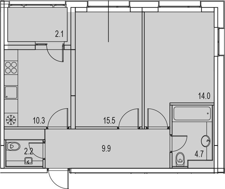 2-комнатная 60 м<sup>2</sup> на 12 этаже