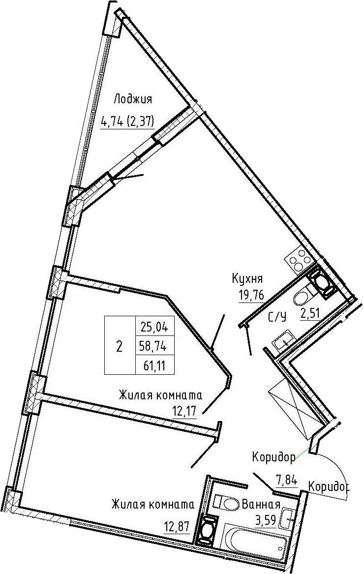 3-комнатная 63 м<sup>2</sup> на 8 этаже