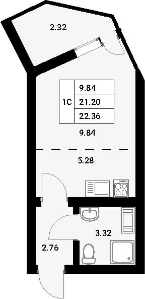 Студия, 23.52 м²