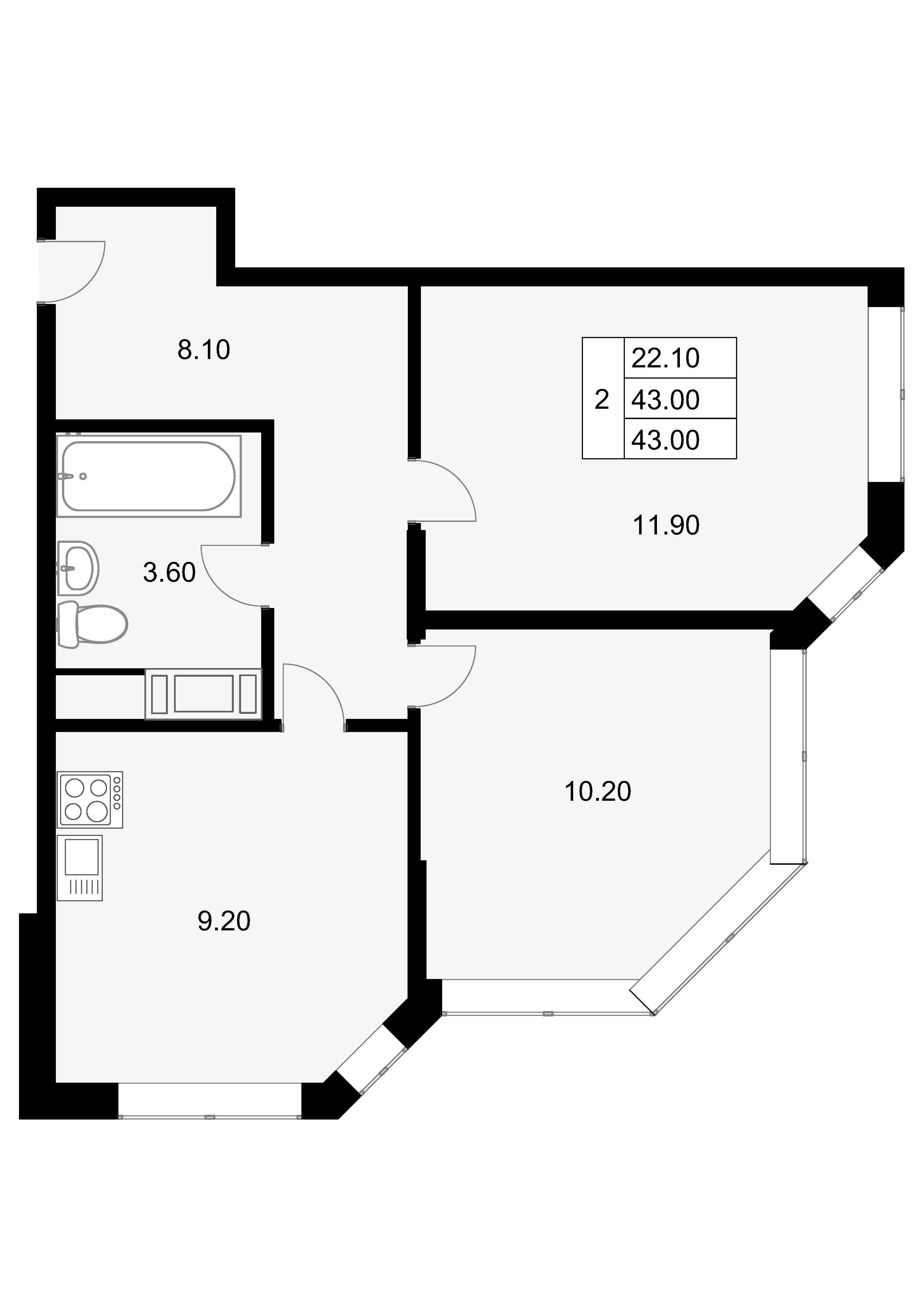 2-к.кв, 43 м²