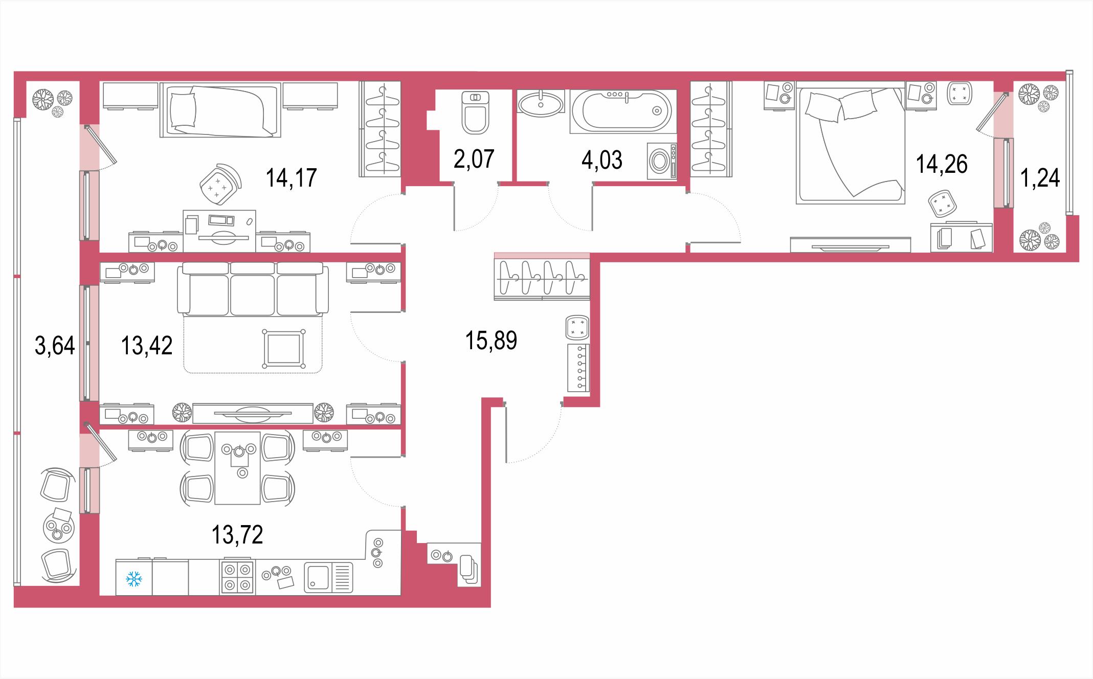 3-комнатная 87 м<sup>2</sup> на 20 этаже