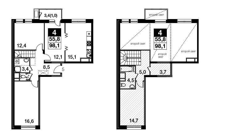 4-к.кв, 100.43 м²