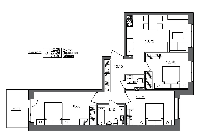 4-комнатная 83 м<sup>2</sup> на 1 этаже