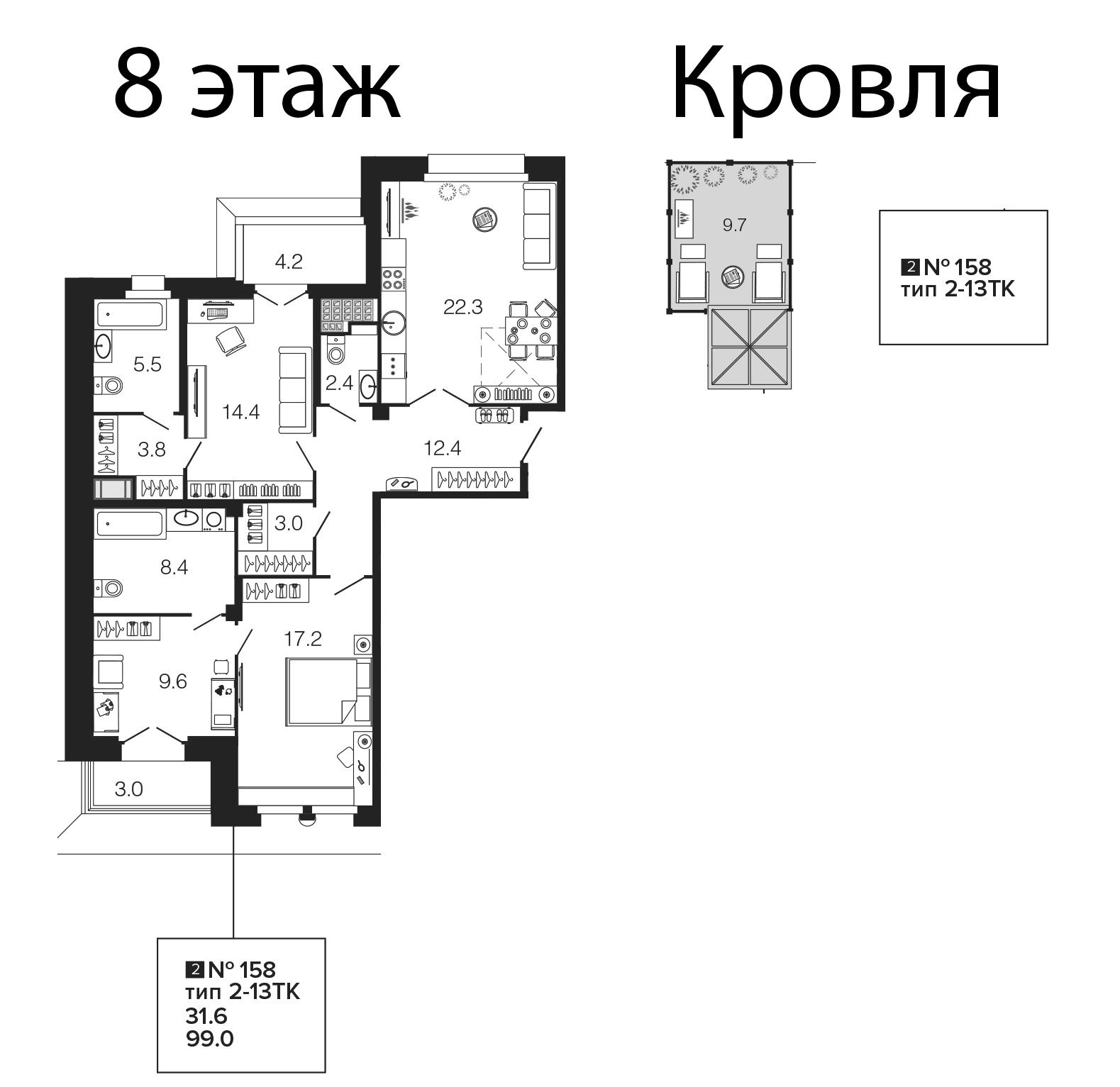 4-комнатная 115 м<sup>2</sup> на 8 этаже