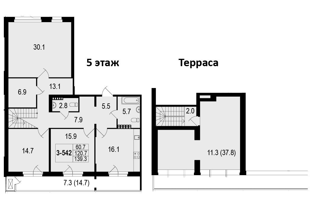 4-комнатная 172 м<sup>2</sup> на 5 этаже