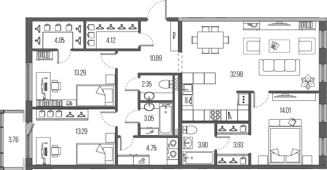 4-комнатная 114 м<sup>2</sup> на 2 этаже