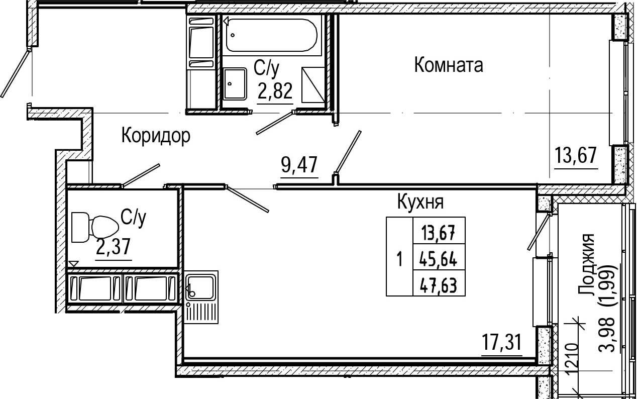 2-комнатная 49 м<sup>2</sup> на 18 этаже