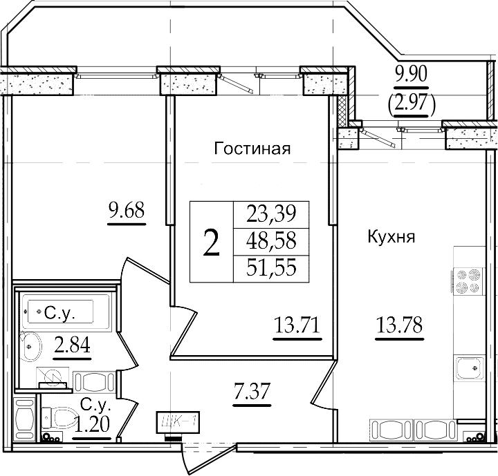 2-комнатная 58 м<sup>2</sup> на 22 этаже
