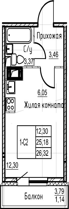 Студия 28 м<sup>2</sup> на 16 этаже