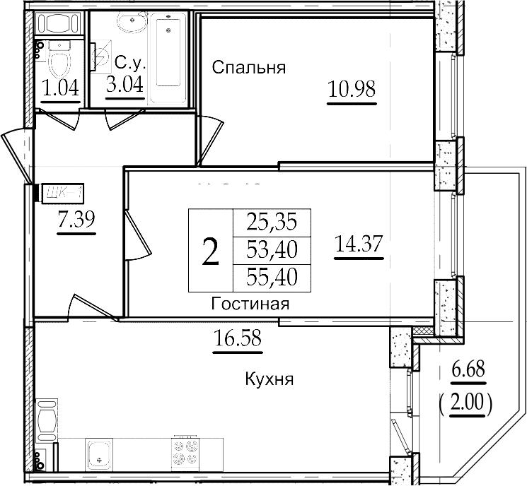 3-комнатная 60 м<sup>2</sup> на 15 этаже