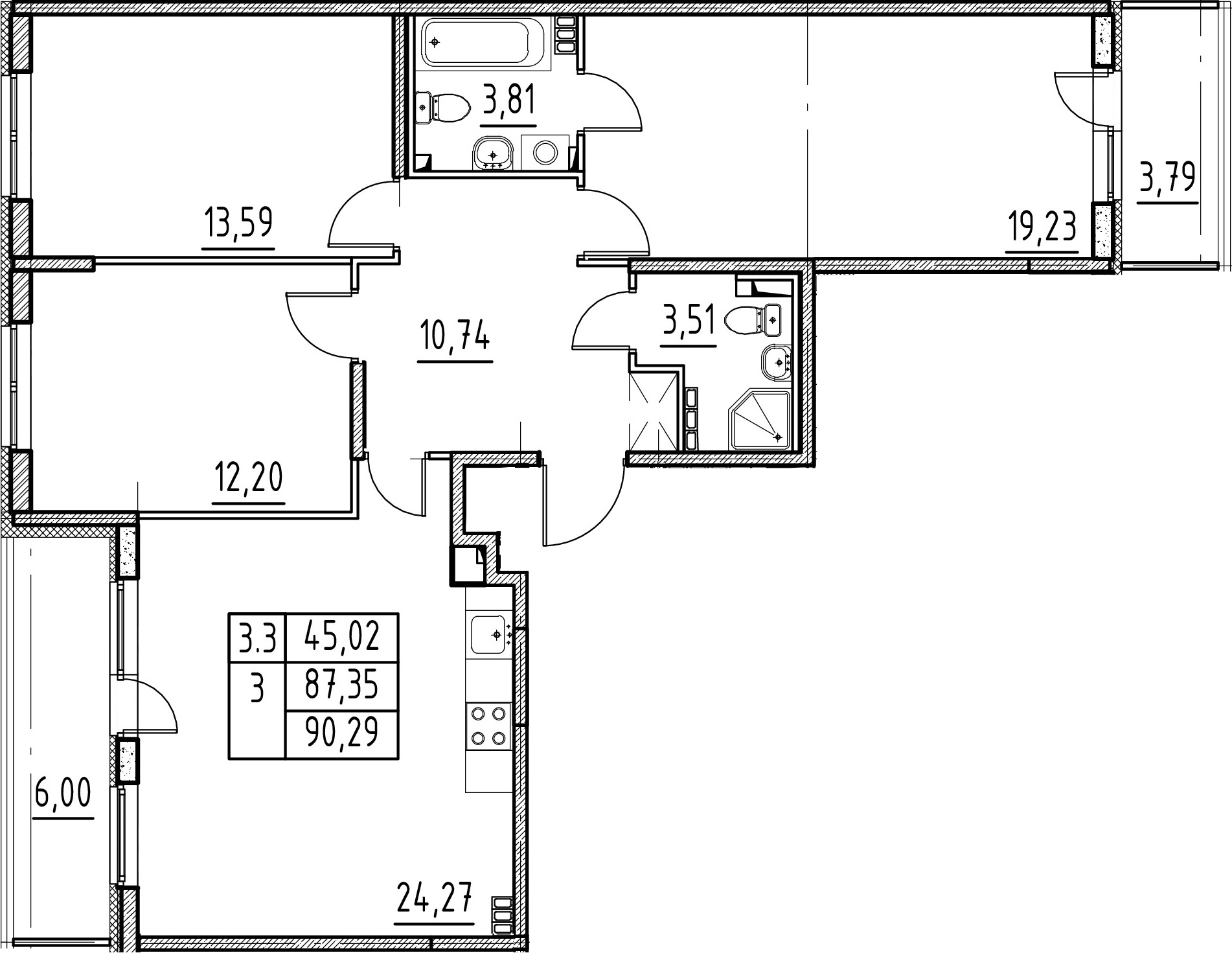 4-комнатная 97 м<sup>2</sup> на 4 этаже
