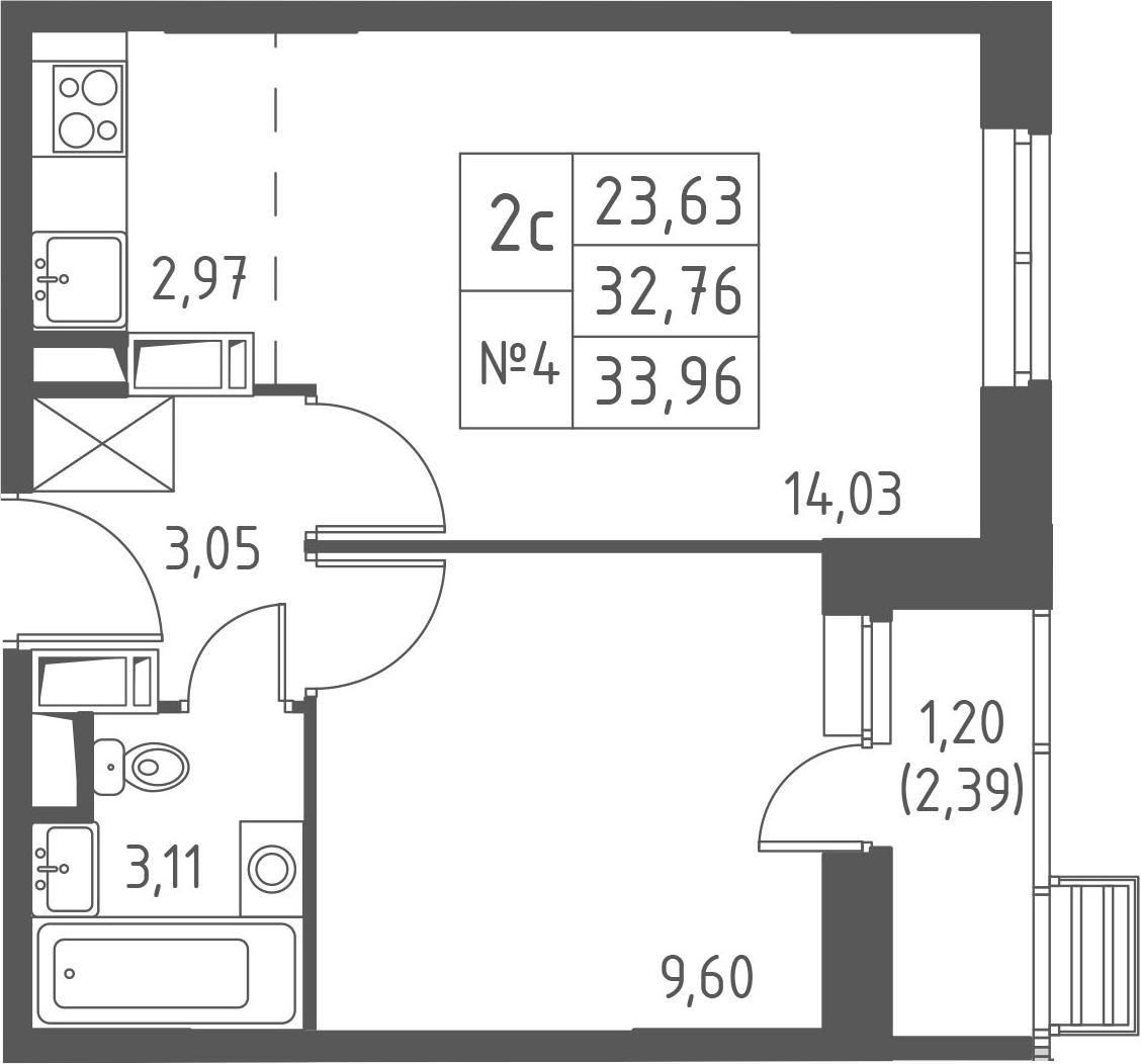 2-к.кв (евро), 35.16 м²