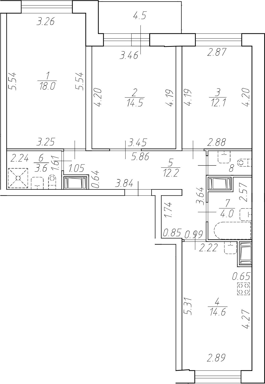 3-комнатная 85 м<sup>2</sup> на 14 этаже