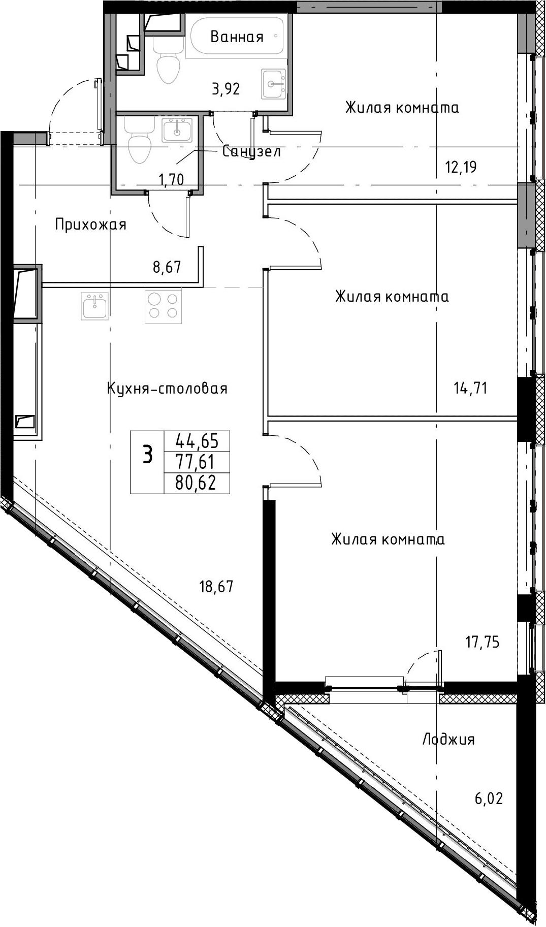 4-к.кв (евро), 83.63 м²