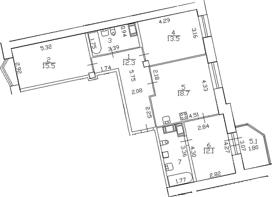 4-комнатная 88 м<sup>2</sup> на 15 этаже