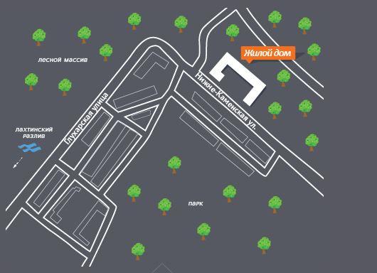 План жилого комплекса ЖК Дом на Нижне-Каменской