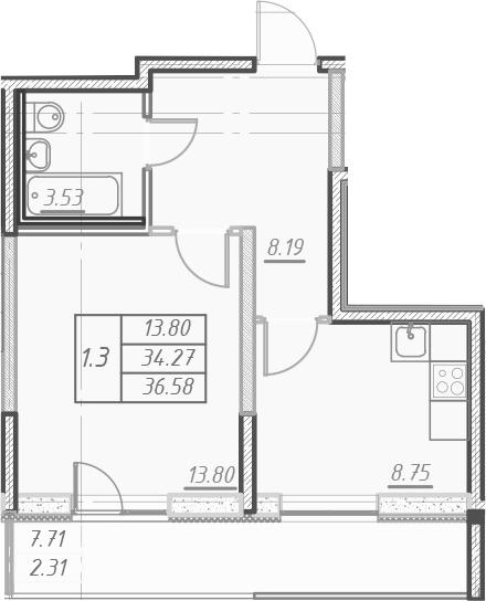 1-комнатная 41 м<sup>2</sup> на 16 этаже