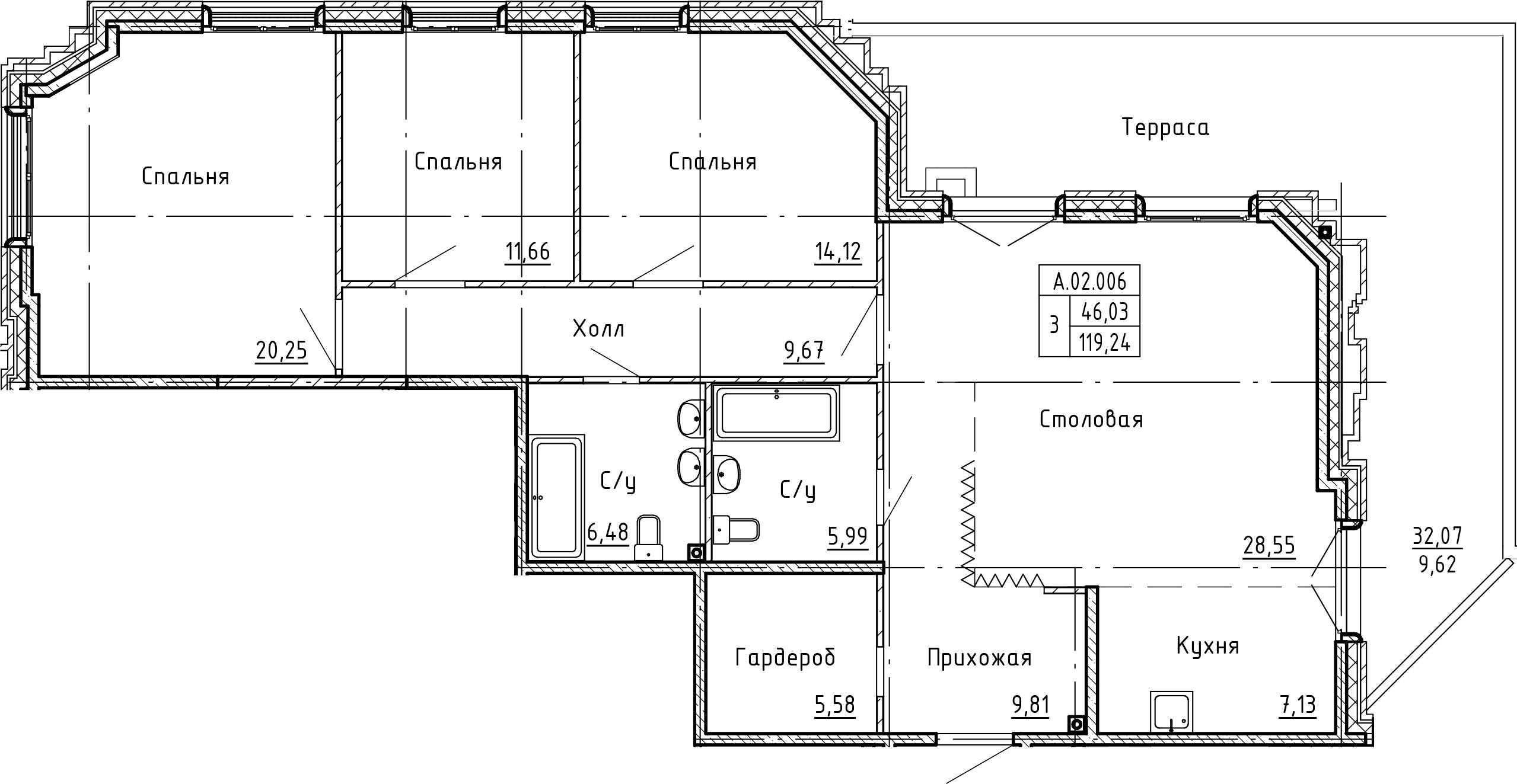 4-комнатная 151 м<sup>2</sup> на 2 этаже