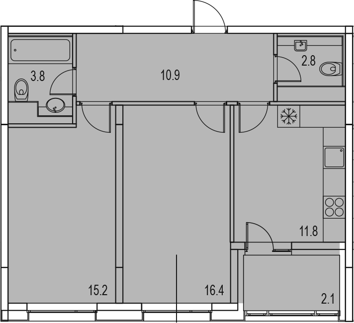 2-комнатная 65 м<sup>2</sup> на 12 этаже