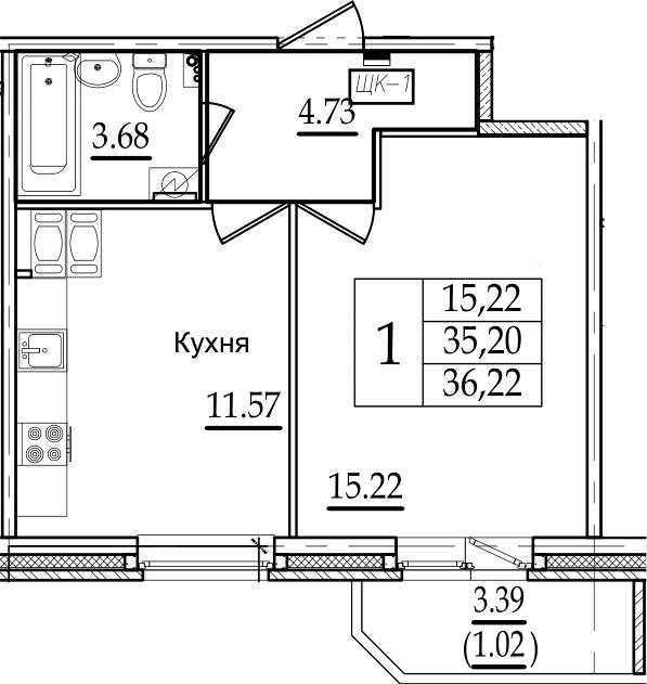 1-комнатная 38 м<sup>2</sup> на 15 этаже