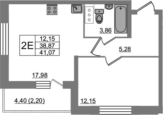 2-комнатная 43 м<sup>2</sup> на 15 этаже
