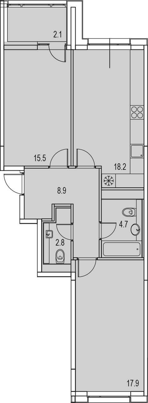3-комнатная 72 м<sup>2</sup> на 12 этаже