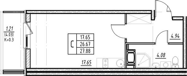 Студия 30 м<sup>2</sup> на 10 этаже