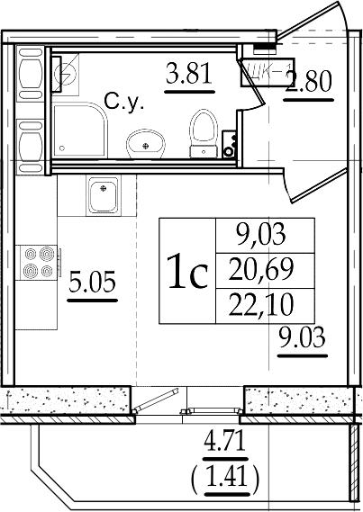 Студия 25 м<sup>2</sup> на 11 этаже