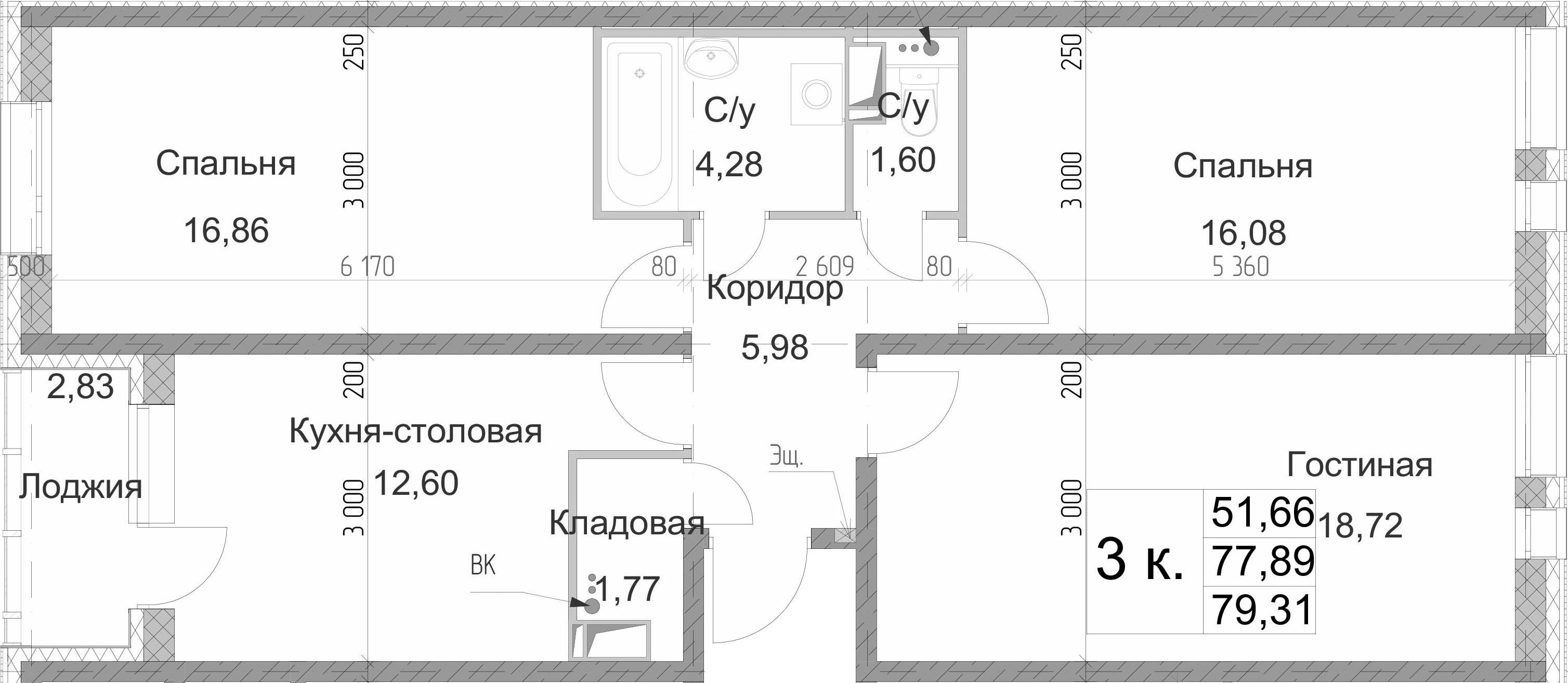 3-к.кв, 80.72 м²