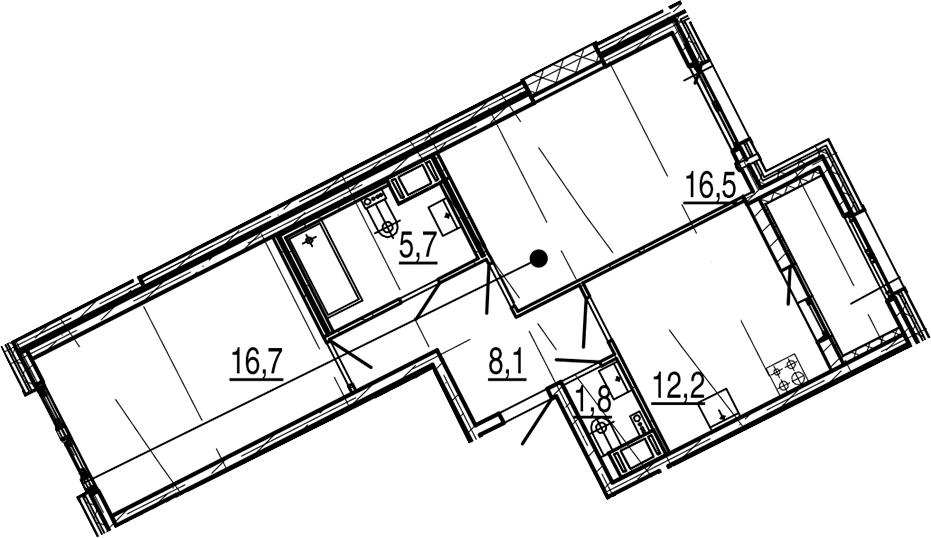 2-комнатная 64 м<sup>2</sup> на 6 этаже