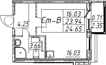 Студия 26 м<sup>2</sup> на 5 этаже