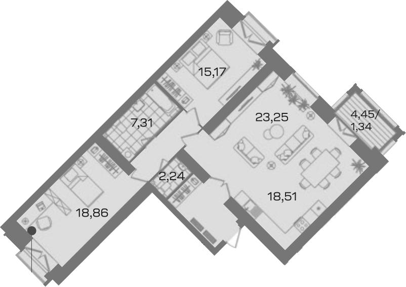 3-комнатная 101 м<sup>2</sup> на 3 этаже