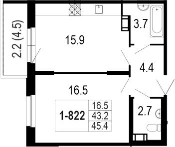 2-комнатная 48 м<sup>2</sup> на 8 этаже
