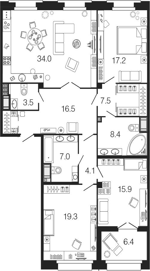 4-комнатная 139 м<sup>2</sup> на 8 этаже