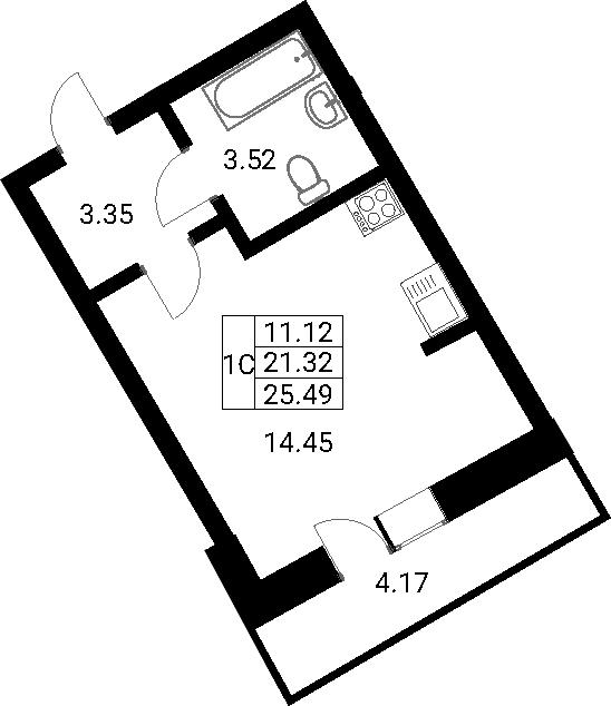 Студия, 25.49 м²