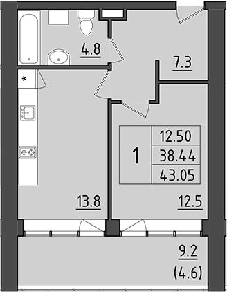 1-комнатная 56 м<sup>2</sup> на 4 этаже
