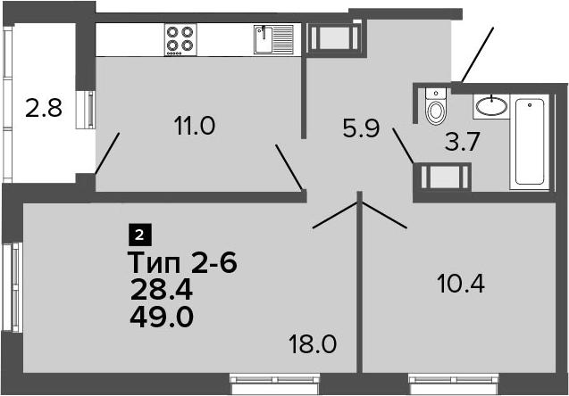 2-комнатная 51 м<sup>2</sup> на 9 этаже